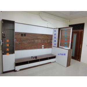【歐雅 系統家具 】 客廳高櫃+鞋櫃+TV櫃+木框玻璃隔間