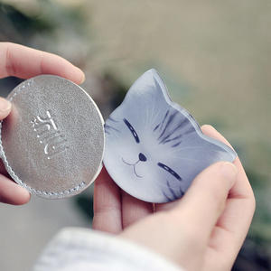 迷妳可愛貓咪不鏽鋼化妝鏡可愛便攜隨身超薄小鏡子摔不爛