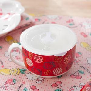Hello Kitty和風泡麵碗附保鮮蓋-紅-生活工場