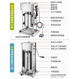 電動灌腸機商用大功率灌香腸機全自動家用不銹鋼灌臘腸機立式手動 美芭