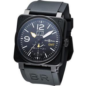 Bell & Ross  GMT大視窗日期機械飛行錶 BR0351-GMT-CA/SRU