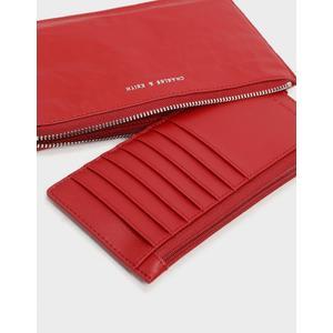 【直飛現貨 正品保證】小CK L型拉鍊長夾 錢包(紅色) CK6-10840151-1 皮夾