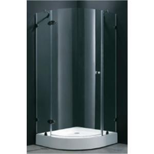 【麗室衛浴】B-029 無框8mm強化玻璃圓弧外開式淋浴拉門含扇形底盆  80*100*190cm