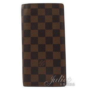 茱麗葉精品 二手精品【8成新】Louis Vuitton LV N60017 Brazza 棋盤格紋雙折零錢長夾