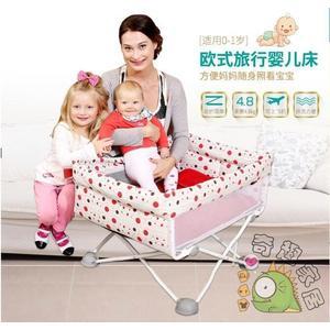 歐式便攜式新生兒嬰兒床可摺疊旅行床邊床wy