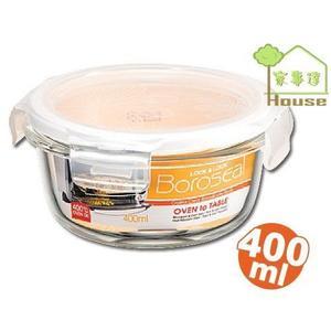[家事達] 樂扣LOCK 波烤箱圓型玻璃保鮮盒400ml(AW-LLG822) X2入