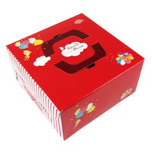 {花仙子}8吋手提布丁盒組(附盤) 蛋糕盒 (50入/組)