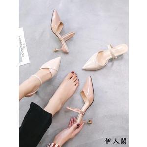 仙女高跟包頭涼鞋細跟兩穿涼拖鞋