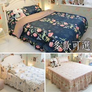 【鋪棉床裙】QPS1雙人加大鋪棉床裙三件組  100%精梳棉 多款可選 台灣製 棉床本舖