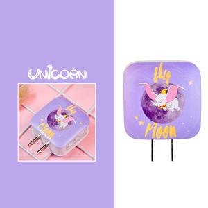 紫底小飛象 雙孔USB 2.4A充電插頭 豆腐頭 旅充頭 充電頭 充電器 Unicorn手機殼