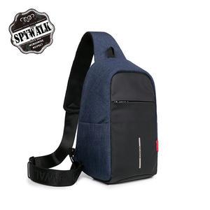 單肩包 SPYWALK防潑水尼龍多彩防盜胸包 防盜包USB充電功能 S7053