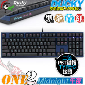 [ PC PARTY ] 創傑 Ducky Midnight 午夜 ONE2 PBT 108鍵 紅軸 茶軸 青軸 黑軸 機械式鍵盤