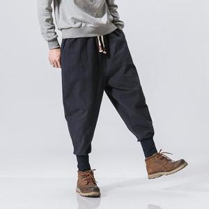 褲子男亞麻褲男飛鼠褲小腳哈倫褲潮嘻哈褲男寬鬆束腳褲燈籠褲