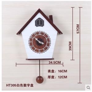 小鄧子現代客廳創意音樂掛鐘歐式報時咕咕鳥鐘 簡約時尚布穀鳥鐘錶(16英寸)