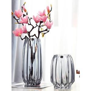 創意大號玻璃瓶透明彩色水培富貴竹百合玫瑰豎棱花瓶客廳插花擺件『艾麗花園』