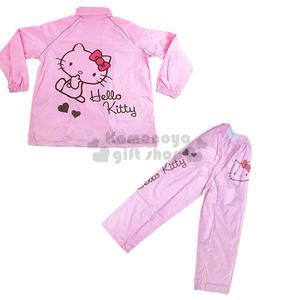 〔小禮堂〕Hello Kitty 休閒套裝式雨衣《粉.咬手指.愛心》L~2XL  3050656-6500_