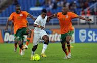File picture of Asamoah Gyan (centre). The Ghana captain and leading scorer misses the trip to the Portuguese capital Lisbon after the death of his mother in an Accra road accident, and coach Kwesi Appiah plans to test some fringe players against Cape Verde