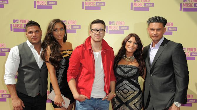 "Cast members from MTV's ""Jersey Shore,"" from left, Ronnie Ortiz-Magro, Samantha Giancola, Vinny Guadagnino, Deena Nicole Cortese and Paul DelVecchio arrive at the MTV Video Music Awards on Thursday, Sept. 6, 2012, in Los Angeles. (Photo by Jordan Strauss/Invision/AP)"