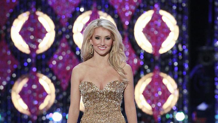 "Miss Arizona, Kathryn Bulkley, competes in the evening gown competition during the ""2011 Miss America Pageant at the Planet Hollywood Resort & Casino on January 15, 2011 in Las Vegas, Nevada."