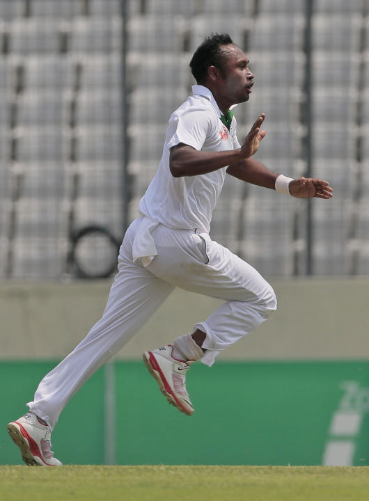 Bangladesh's Mohammad Shahid celebrates the dismissal of Pakistan's Mohammad Hafeez during their second international test cricket match in Dhaka, Bangladesh, Wednesday, May 6, 2015. (AP Photo/ A.M. A