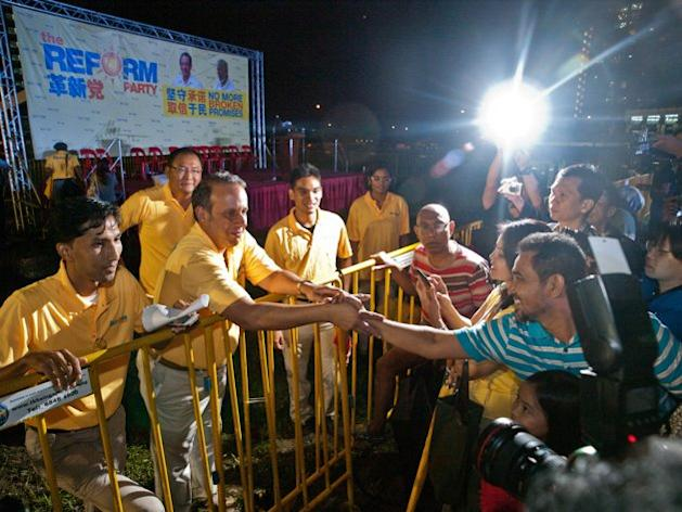 RP's K Jeyaretnam meets party supporters after the rally.