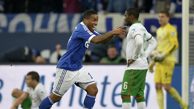 Schalke's Jefferson Farfan celebrates after scoring during the German  Bundesliga  soccer match between FC Schalke 04 and  SV Werder Bremen in Gelsenkirchen, Germany, Saturday, Nov. 9, 2013