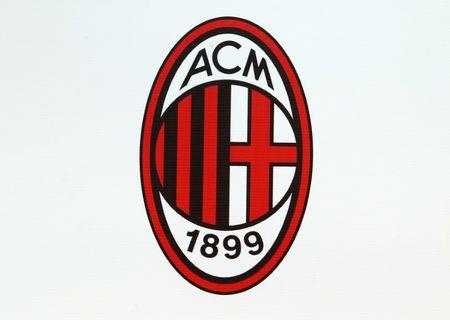 AC Milan logo is seen at the San Siro stadium during the match against Udinese in Milan