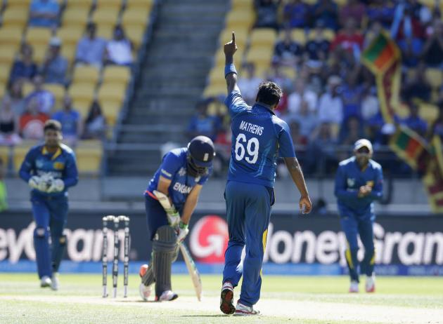 Sri Lanka's Mathews celebrates taking the wicket of England's Ali during their Cricket World Cup match in Wellington