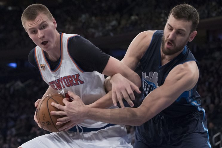 Kristaps Porzingis showed the resting Dirk Nowitzki a thing or two on Monday. (Associated Press)