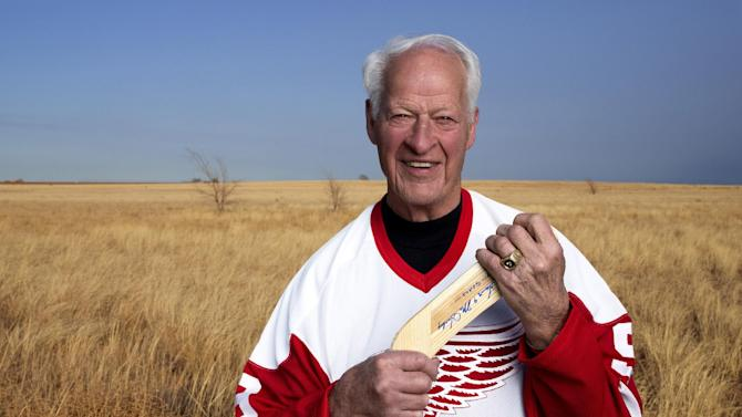 "In an undated image provided by Crown Media United States, former Detroit Red Wings hockey great Gordie Howe is seen. A made-for-TV movie, ""Mr. Hockey: The Gordie Howe Story,"" focuses on the season the Hall-of-Famer teamed up with his sons in Houston. The U.S. premiere of the film is Saturday, May 4, 2013. (AP Photo/Crown Media United States, Andrew Eccles)"