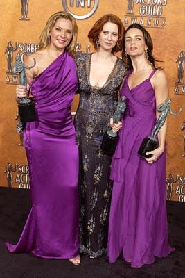 """Kim Cattrall, Cynthia Nixon and Kristin Davis of """"Sex and the City"""" Outstanding Performance by an Ensemble in a Comedy Series Screen Actors Guild Awards 2/22/2004"""