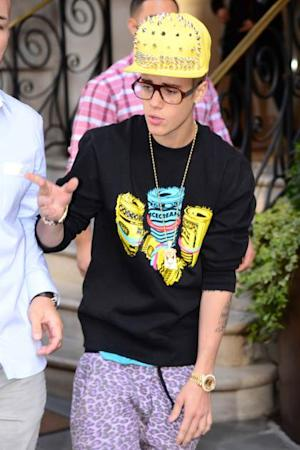 Justin Bieber is seen leaving his hotel on February 27, 2013 in London -- Getty Premium