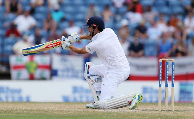 Cricket: England's Alistair Cook in action
