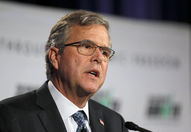 Former Florida Gov. Jeb Bush speaks at the winter meeting of the free market Club for Growth winter economic conference at the Breakers Hotel, Thursday, Feb. 26, 2015, in Palm Beach, Fla.   (AP Photo/