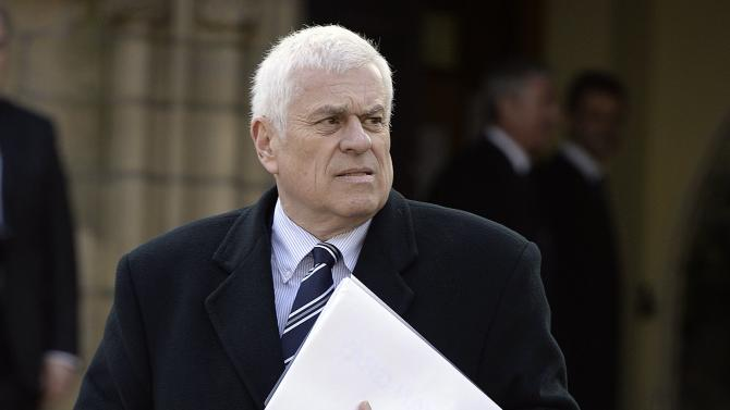 Preston North End's chairman Peter Ridsdale arrives for the funeral of former Preston and England soccer player Tom Finney at Preston Minster