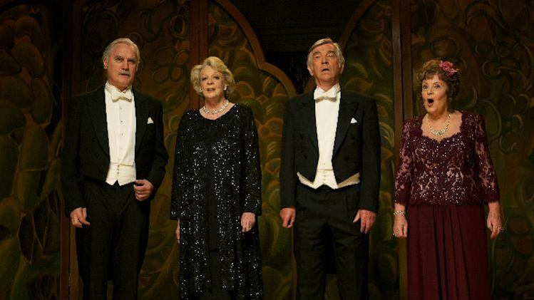 "This film image released by The Weinstein Company shows, from left, Billy Connolly, Maggie Smith, Tom Courtenay and Pauline Collins in a scene from ""Quartet."" (AP Photo/The Weinstein Company, Kerry Brown)"