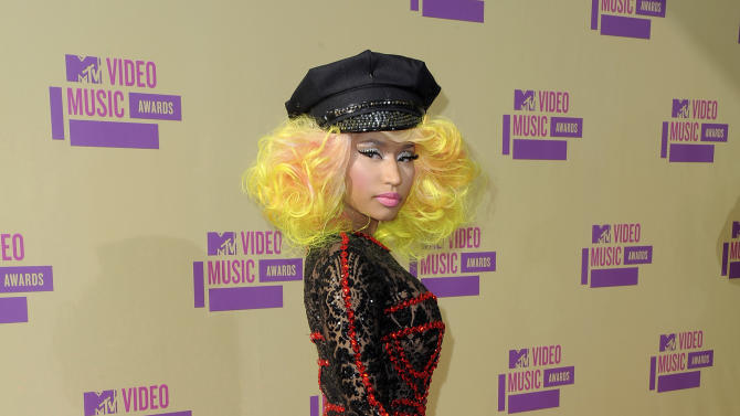 Nicki Minaj arrives at the MTV Video Music Awards on Thursday, Sept. 6, 2012, in Los Angeles. (Photo by Jordan Strauss/Invision/AP)