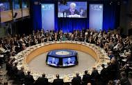 IMF Managing Director Christine Lagarde speaks at the World Bank in Washington, DC. The International Monetary Fund wrapped up meetings with its coffers to fight the eurozone crisis $430 billion richer
