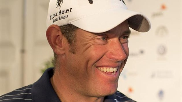 GOLF England's Lee Westwood smiles after the third round of the Scandinavian Masters golf tournament at Bro Hof golf club in Stockholm June 8, 2012.