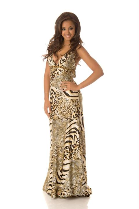 Miss Belgium 2012, Laura Beyne: If Beyne was going to Atlantic City, I would understand this outfit. But she's not. So why is she wearing a multi-print animal gown for the Miss Universe pageant? At le