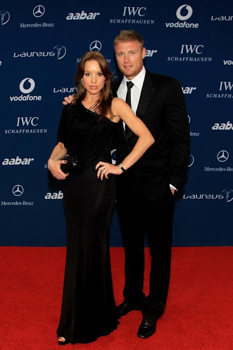 ABU DHABI, UNITED ARAB EMIRATES - MARCH 10:  Cricketer Andrew Flintoff and his wife Rachael Flintoff arrives at the Laureus World Sports Awards 2010 at Emirates Palace Hotel on March 10, 2010 in Abu D