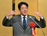 Japanese Prime Minister Shinzo Abe speaks before executives of auto makers and auto-parts makers in Tokyo on January 7, 2013. Defence Minister Itsunori Onodera has said Abe's government will review Japan's long-term basic defence programme