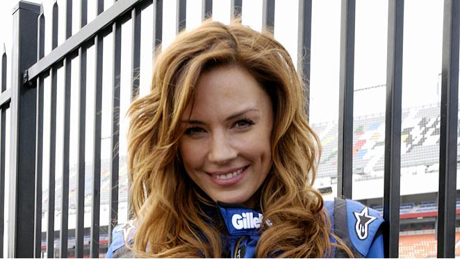 Krista Allen competes in Fast Cars & Superstars -- The Gillette Young Guns Celebrity Race.