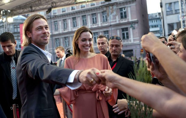 Fans... Jolie and Pitt meet fans in Sarajevo (Copyright: Rex)