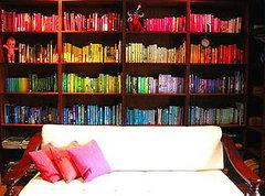 Try organizing your books by color. I love the rainbow effect on this bookshelf.   Source:  Flickr…