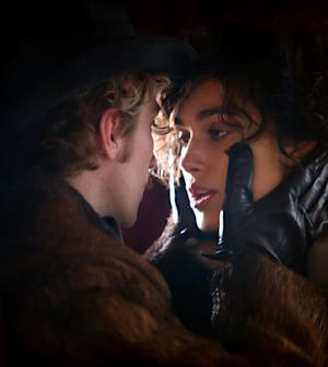 "This film image released by Focus Features shows Aaron Taylor-Johnson, left, and Keira Knightley in a scene from ""Anna Karenina."" (AP Photo/Focus Features, Laurie Sparham)"