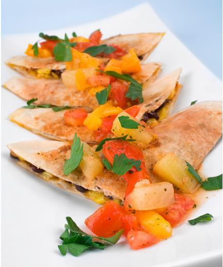 Cilantro Pesto Quesadillas with Mango Corn Salsa