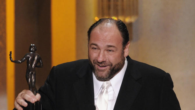"FILE - This Jan. 27, 2008 file photo shows actor James Gandolfini accepting the award for outstanding performance by a male actor in a drama series for his work in ""The Sopranos"" at the 14th Annual Screen Actors Guild Awards in Los Angeles. HBO and the managers for Gandolfini say the actor died Wednesday, June 19, 2013, in Italy. He was 51. (AP Photo/Mark J. Terrill, file)"