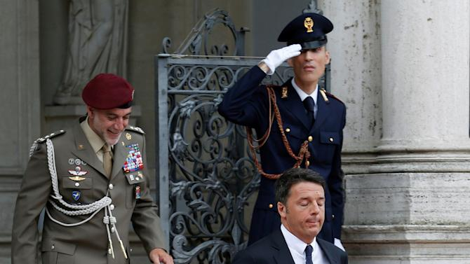 Italian Prime Minister Matteo Renzi arrives at the meeting with British counterpart Theresa May in Rome