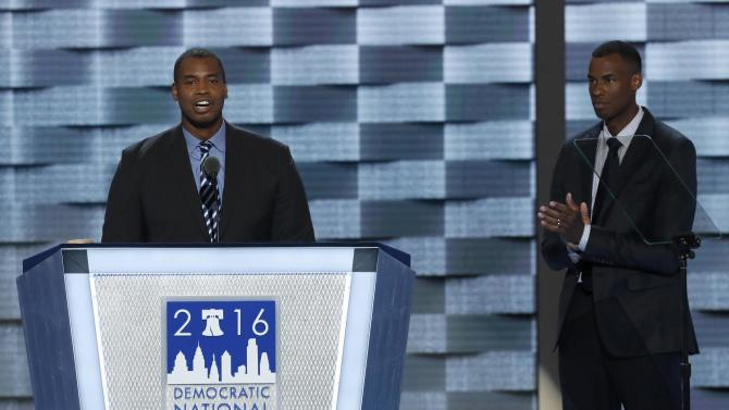 Former NBA player Jason Collins speaks at the Democratic National Convention in Philadelphia